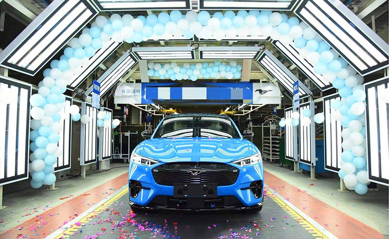 Ford's electric Mustang Mach-E engineering test vehicle rolls off assembly line at China plant-CnEVPost