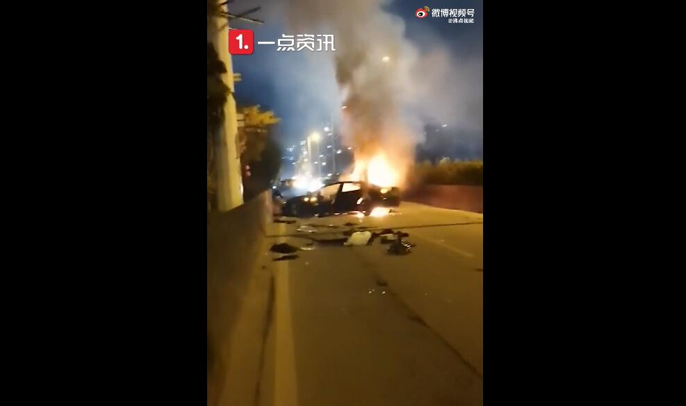 A Tesla in Guangzhou catches fire in collision, killing one passenger-CnEVPost