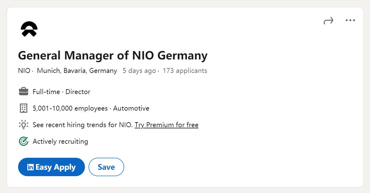 NIO's next stop overseas could be Germany as it's hiring general manager for local operations-CnEVPost